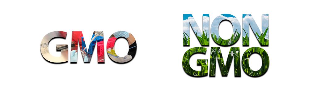 Obraz przedstawiający różnicę pomiędzy GMO i NON GMO.